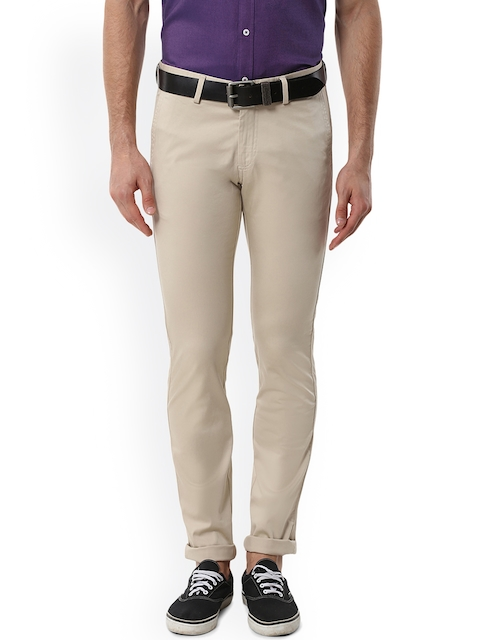 Allen Solly Men Beige Slim Fit Solid Regular Trousers