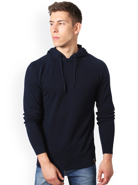 Peter England Casuals Men Navy Blue Self-Design Hooded Pullover