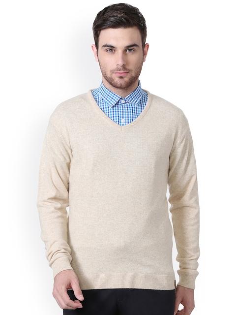 Peter England Men Beige Self-Design Pullover