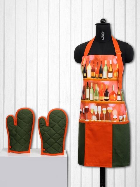 SWAYAM Unisex Orange & Olive Green Cotton Kitchen Linen Set