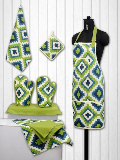 SWAYAM Unisex Green & Teal Blue Cotton Kitchen Linen Set