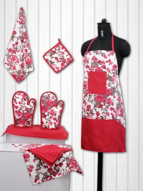 SWAYAM Unisex Red & Off-White Kitchen Linen Set