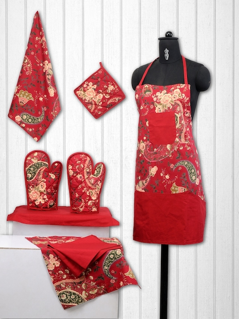 SWAYAM Unisex Set of 8 Red Cotton Printed Kitchen Linen Set