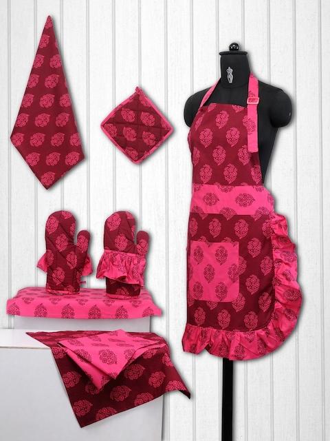 SWAYAM Unisex Pink & Maroon Cotton Kitchen Linen Set