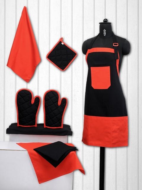 SWAYAM Unisex Set of 8 Black & Orange Cotton Solid Kitchen Linen Set