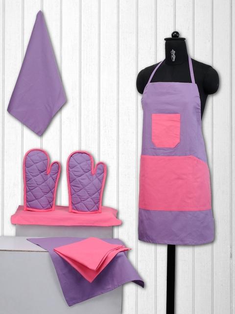 SWAYAM Unisex Purple & Pink Colourblocked Cotton Kitchen Linen Set