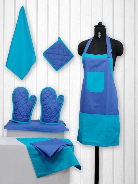 SWAYAM Unisex Blue Colourblocked Cotton Kitchen Linen Set