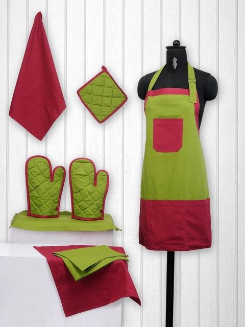 SWAYAM Unisex Green & Maroon Colourblocked Cotton Kitchen Linen Set