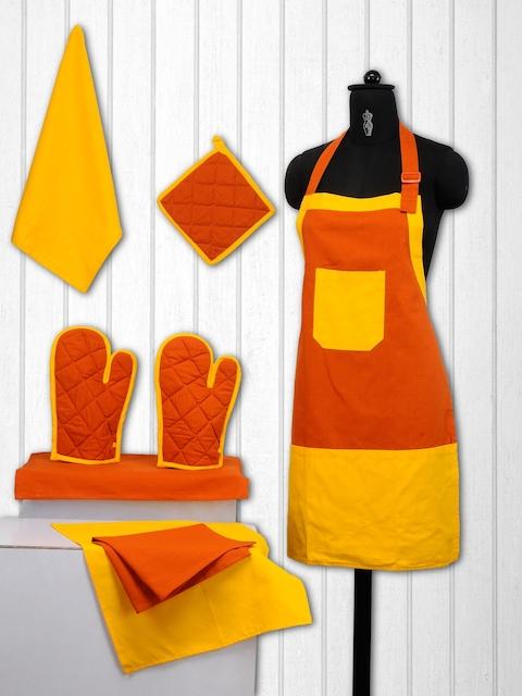 SWAYAM Unisex Orange & Yellow Colourblocked Cotton Kitchen Linen Set