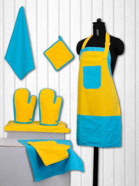 SWAYAM Unisex Set of 8 Blue & Yellow Cotton Printed Kitchen Linen Set