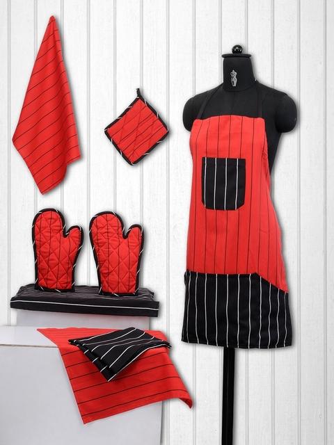 SWAYAM Unisex Set of 8 Black & Red Cotton Striped Kitchen Linen Set