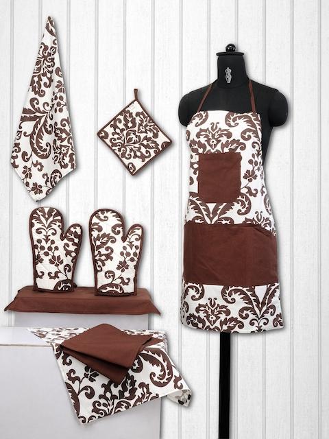 SWAYAM Unisex Brown & Off-White Cotton Kitchen Linen Set