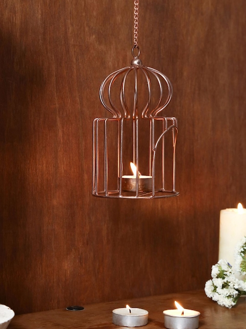 Unravel India Copper-Toned Hanging Candle Holders