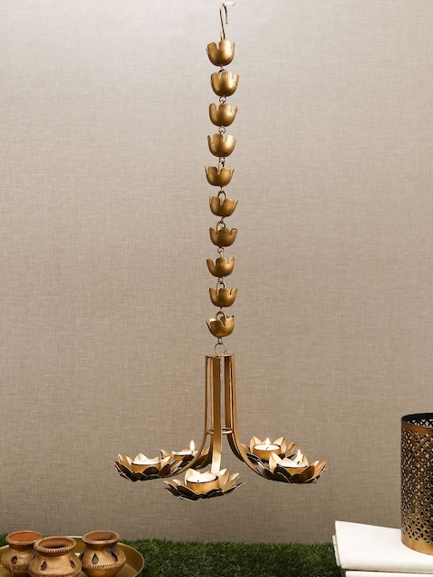 Unravel India Gold-Toned Metal Hanging Candle Holders
