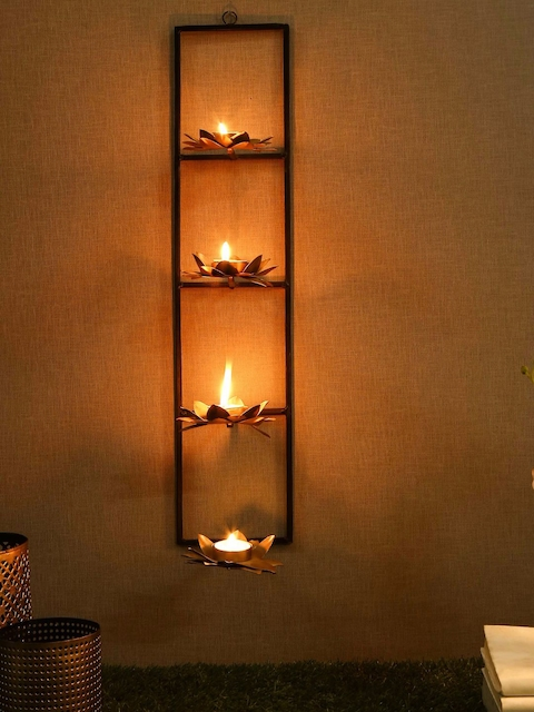Unravel India Gold-Toned & Black Wall Candle Holders