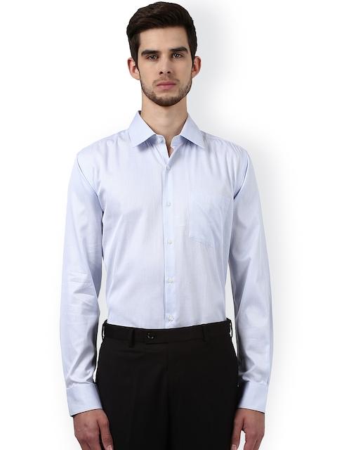 Park Avenue Men Blue & White Slim Fit Self Design Formal Shirt