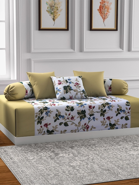 SWAYAM Green & Off-White Printed Diwan Set with Bolster & Cushion Covers