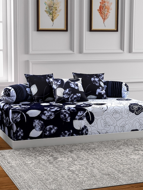 SWAYAM Black & White Printed Diwan Set with Bolster & Cushion Covers