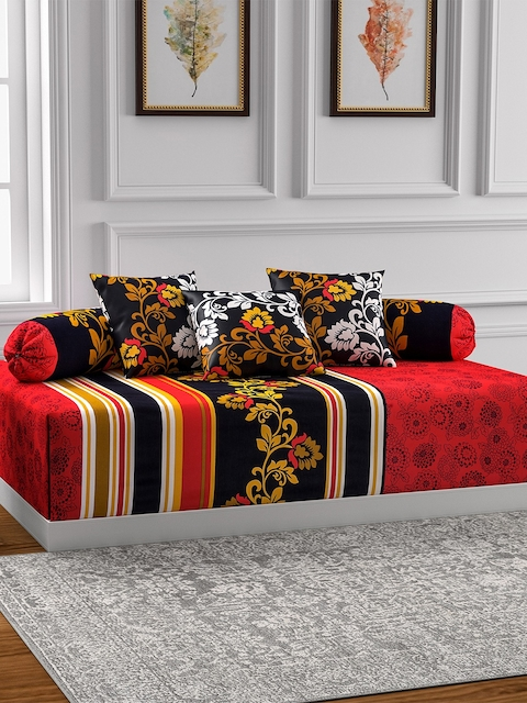 SWAYAM Black & Maroon Printed Diwan Set with Bolster & Cushion Covers