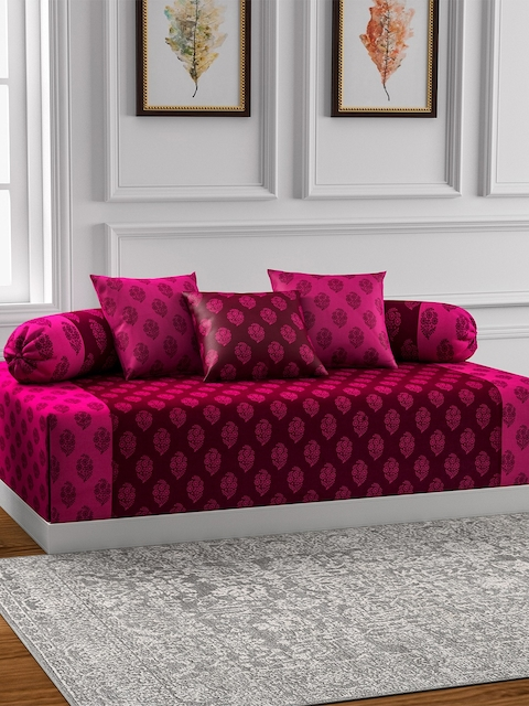 SWAYAM Pink Printed Diwan Set with Bolster & Cushion Covers