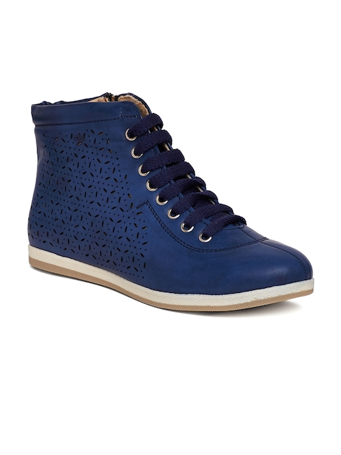 Marc Loire Women Blue Perforations Synthetic Mid-Top Flat Boots