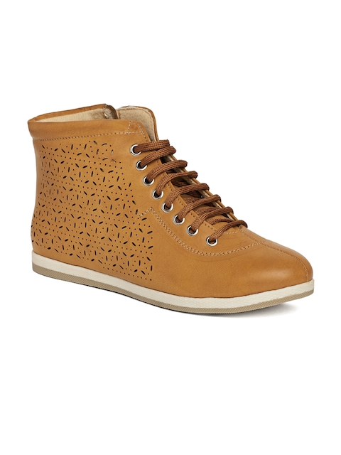 Marc Loire Women Tan Brown Perforations Synthetic Mid-Top Flat Boots