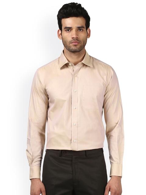 Raymond Men Beige Classic Regular Fit Solid Formal Shirt