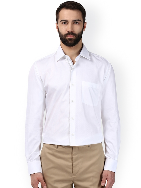 Raymond Men White Regular Fit Solid Formal Shirt