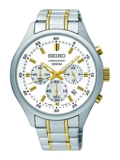 SEIKO Men White Chronograph Analogue Watch SKS589P1