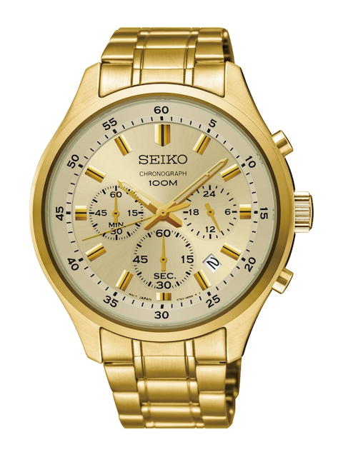 SEIKO Men Gold-Toned Chronograph Analogue Watch SKS592P1