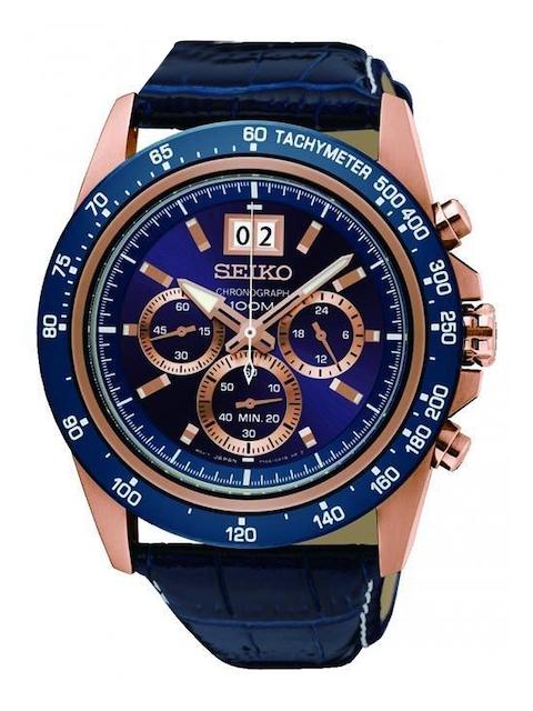 SEIKO Men Blue Chronograph Analogue Watch SPC238P1