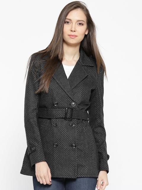 U.S. Polo Assn. Women Charcoal Grey Self-Design Tailored Jacket