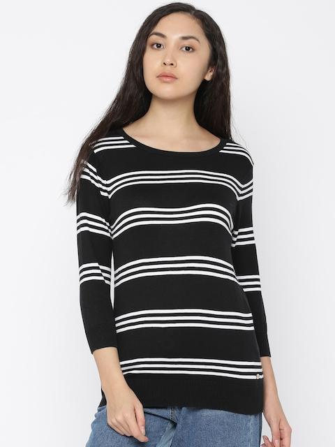U.S. Polo Assn. Women Women Black & White Striped Pullover