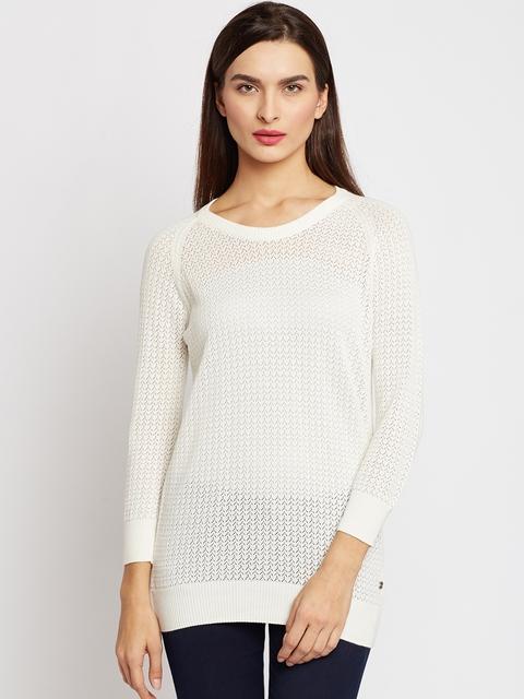 U.S. Polo Assn. Women Off-White Self-Design Pullover