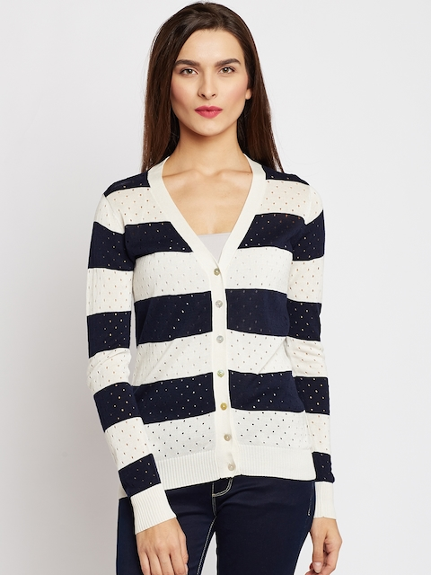 U.S. Polo Assn. Women Off-White & Navy Striped Cardigan