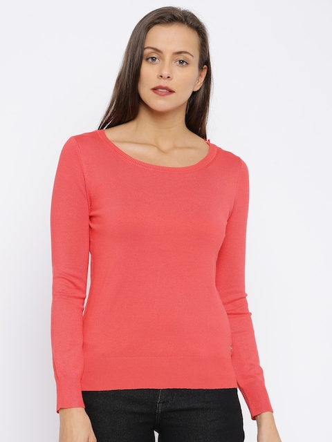 U.S. Polo Assn. Women Coral Pink Solid Pullover