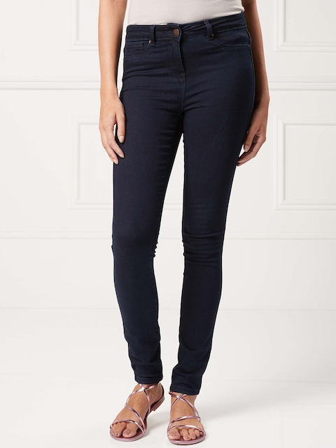 next Women Navy Blue Skinny Fit Mid-Rise Clean Look Jeans
