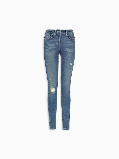 next Women Blue Skinny Fit Mid-Rise Mildly Distressed Jeans