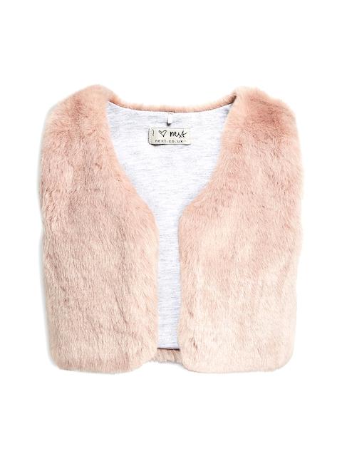 next Girls Pink Furry Shrug