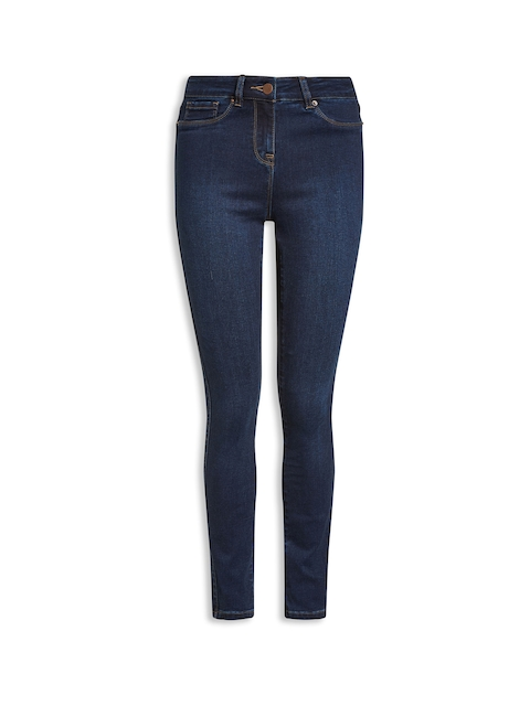 next Women Blue Skinny Fit Mid-Rise Clean Look Jeans