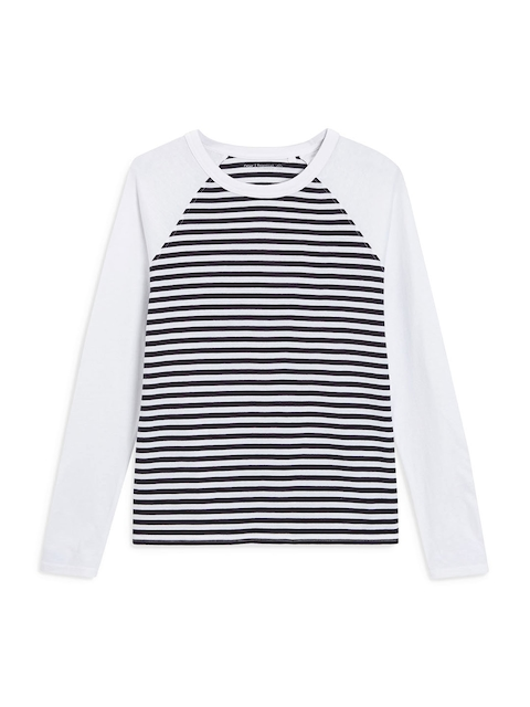 next Women Navy Blue Striped Round Neck T-shirt