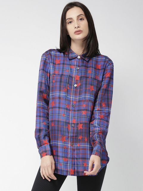 Tommy Hilfiger by GIGI HADID Women Blue & Red Regular Fit Checked Silk Casual Shirt