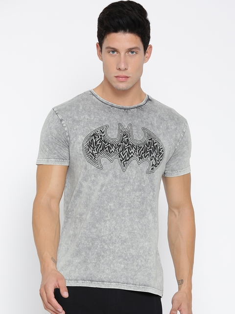 Batman by Free Authority Men Grey Printed Round Neck T-shirt