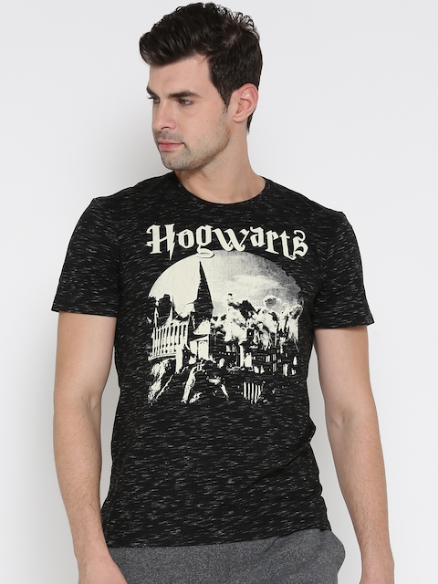 Harry Potter by Free Authority Men Black Printed Round Neck T-shirt