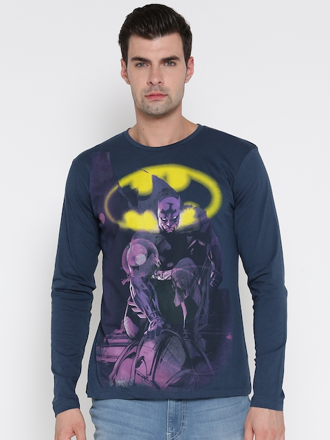Batman by Free Authority Men Navy Blue Printed Round Neck T-shirt
