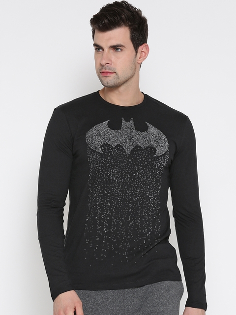 Batman Men Black Printed Round Neck T-shirt