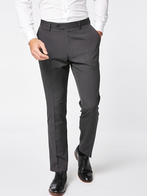 next Men Charcoal Slim Fit Solid Formal Trousers