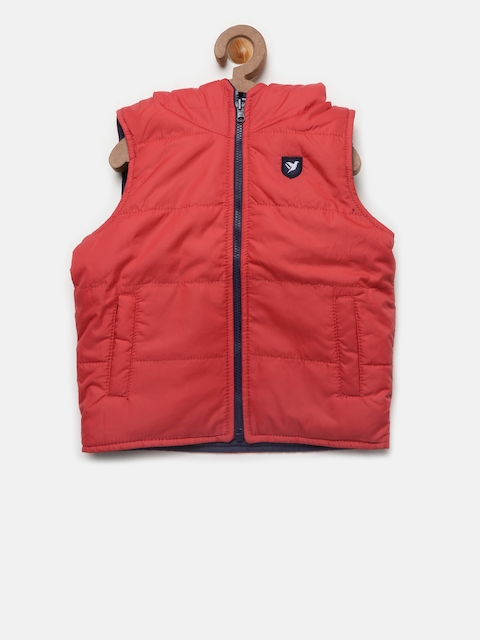 612 league Boys Red & Navy Solid Reversible Hooded Padded Jacket