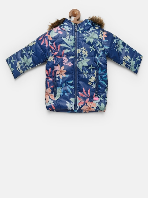 Baby League Girls Navy Blue Printed Padded Jacket