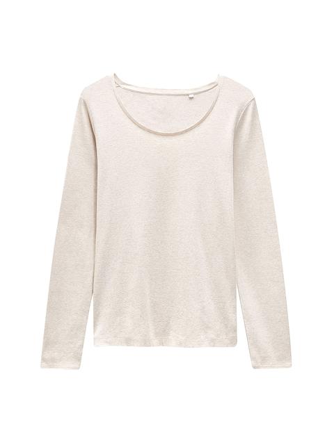 next Women Beige Solid Round Neck T-shirt